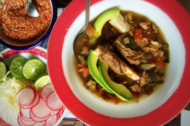 Beef Pozole in the Slow Cooker, photo by Sonia Mendez Garcia