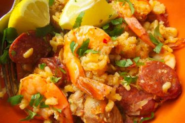One-Pot Chicken, Shrimp and Rice with Chorizo, photo by Sonia Mendez Garcia