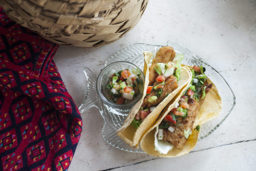 Fish Tacos With Pico de Gallo and White Sauce, photo by Denisse Oller