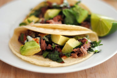 Tacos de Carnitas con Salsa de Cilantro y Limón, photo by Sweet y Salado