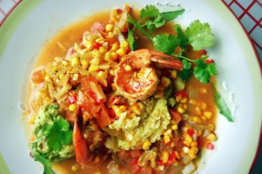 Shrimp and Grits with Fresh Corn and Chayote, photo by Sonia Mendez Garcia