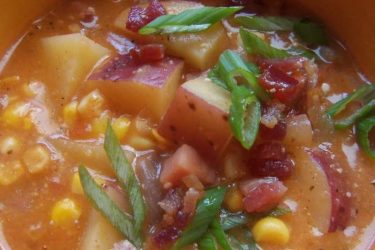Potato Corn Chowder with Ham and Bacon, photo by Sonia Mendez Garcia