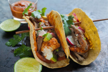 Surf & Turf Tacos with Carne Asada and Spicy Shrimp, photo by Sonia Mendez Garcia