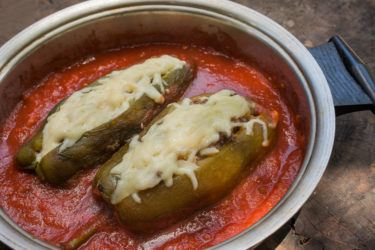 Chiles Rellenos en Salsa (Skillet Stuffed Poblanos in Tomato Salsa), photo by Sonia Mendez Garcia