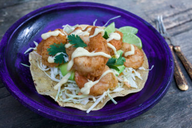 Camarones Capeados (Beer Battered Shrimp Tostadas), photo by Sonia Mendez Garcia