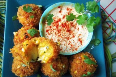 Cheese-Filled Plantain-Corn Fritters, photo by Sonia Mendez Garcia