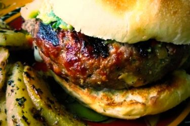 Grilled Burgers Stuffed with Chile Verde and Cheese, photo by Sonia Mendez Garcia