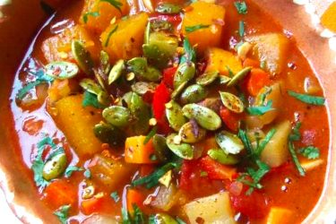 Chipotle Pumpkin, Sweet Potato and Chayote Stew, photo by Sonia Mendez Garcia