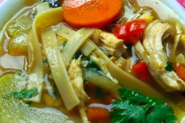 Mexican Chicken Noodle Soup with Chayote Squash, photo by Sonia Mendez Garcia