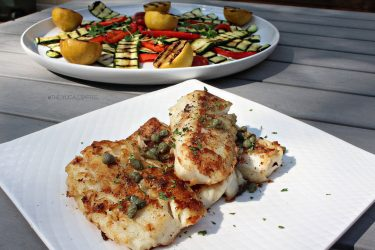 Pan-Seared Cod With Grilled Veggies, photo by Roxy Buil