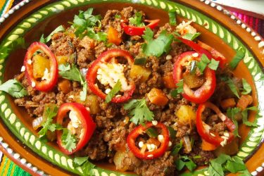 Beef Chorizo Picadillo for Taquitos, Chimichangas and Poppers, photo by Sonia Mendez Garcia