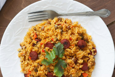 Pigeon Peas Rice With Sausage (Moro de Gandules y Salchichas), photo by Vanessa Mota