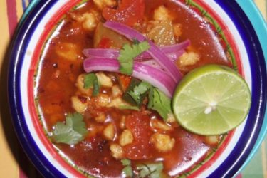 Chorizo Pozole Soup With Lime Pickled Red Onions, photo by Sonia Mendez Garcia