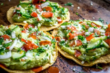 Avocado Hummus and Cucumber Pico de Gallo Tostadas, photo by Mexican Please