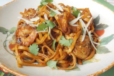 Red Chile Pasta With Chicken and Shrimp, photo by Sonia Mendez Garcia