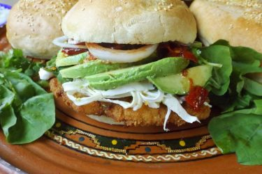 Cemita Poblana (Chicken Milanesa Sandwich), photo by Sonia Mendez Garcia