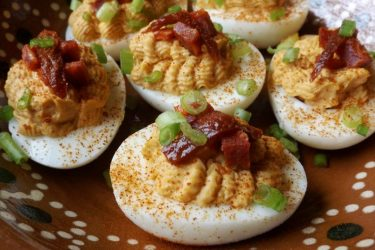 Chipotle Deviled Eggs with Chorizo, photo by Sonia Mendez Garcia