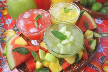 Trio of Agua Frescas (Fruit Waters), photo by Sonia Mendez Garcia