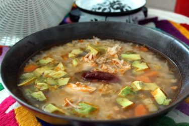 Caldo Tlalpeño (Chicken soup with rice and vegetables), photo by Fernanda Alvarez