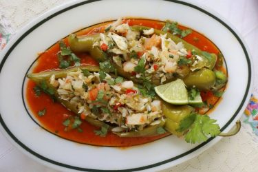 Shrimp and Crab Stuffed Roasted Green Chiles, photo by Sonia Mendez Garcia