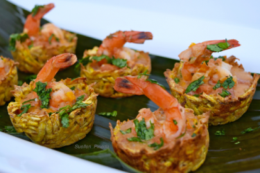 Plantain Baskets with Shrimp and Peanut-Coconut Sauce, photo by Suellen Pineda, RDN, CDN