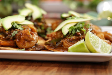 Chile Ancho Shrimp and Avocado Tostadas, photo by Sonia Mendez Garcia