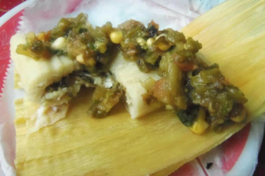 Roasted Cactus Salsa and Cheese Tamales, photo by Sonia Mendez Garcia