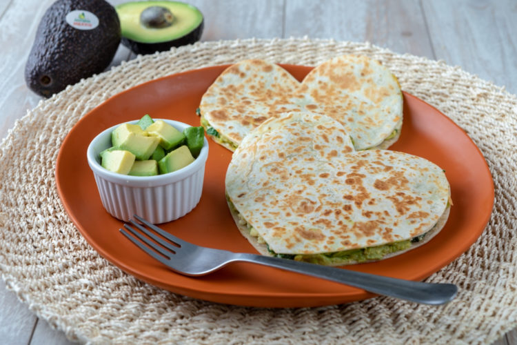 Quesadillas with Avocado, Egg White and Spinach, photo by Avocados From Mexico